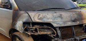 Mobil Ketua Panwas Kolaka yang dibakar