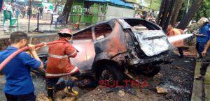 Mobil Avanza Terbakar di Kawasan Eks MTQ